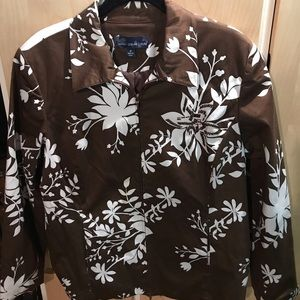 Susan Graver Womans Jacket Brown with White Floral